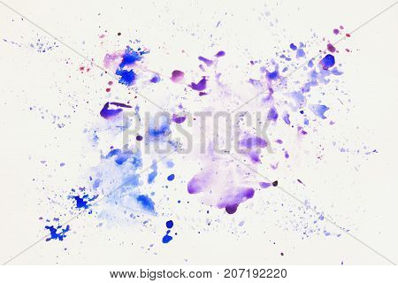 Blue and purple cheerful light multicolored spots on white paper, spring shades. Hand draw illustration. Artwork for creative banner