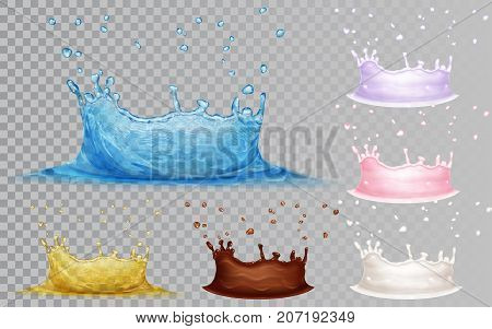 Transparent crowns of light blue water and yellow oil. Opaque crowns of milk chocolate and yoghurt with drops. Water crown isolated on transparent background. Transparency only in vector file