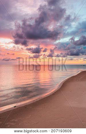 Beautiful vivid sunset at paradise beach Borneo Malaysia