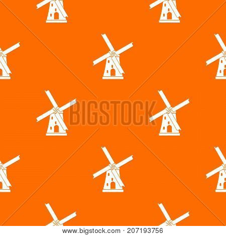 Ancient windmill pattern repeat seamless in orange color for any design. Vector geometric illustration