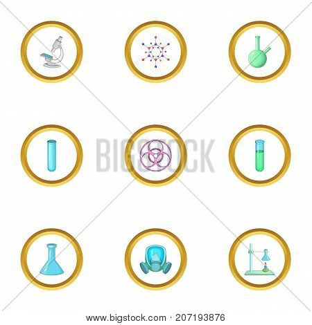 Dangerous research icons set. Cartoon style set of 9 dangerous research vector icons for web design