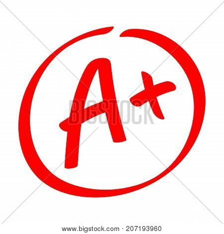 Grade result - A . Hand drawn vector grade with plus in circle. Flat illustration