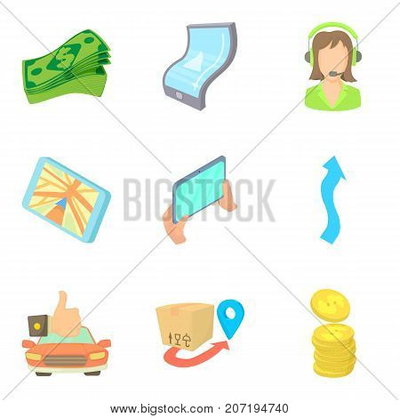 Application for money icons set. Cartoon set of 9 application for money vector icons for web isolated on white background