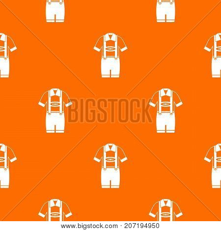 T-shirt and pants with suspenders pattern repeat seamless in orange color for any design. Vector geometric illustration