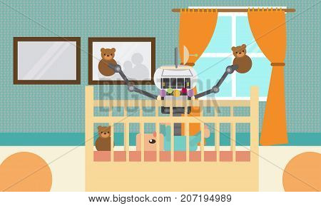 Domestic Robot with happy baby playing in the cradle. Personal robot nanny futuristic concept illustration vector.