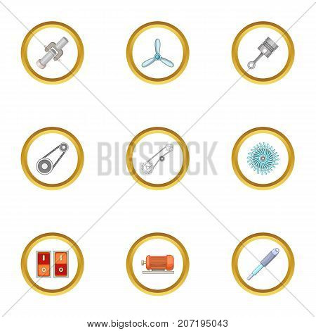 Mechanism icons set. Cartoon style set of 9 mechanism vector icons for web design