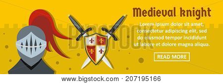 Medieval knight banner horizontal concept. Flat illustration of medieval knight banner horizontal vector concept for web design