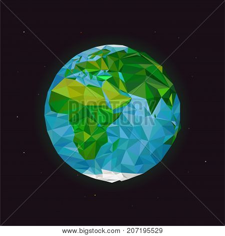 World planet illustration. Earth low poly desing.Globe icon in polygonal style. Earth vector