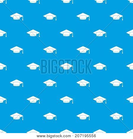 Cap student pattern repeat seamless in blue color for any design. Vector geometric illustration