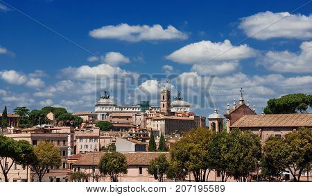 Capitoline Hill skyline with clouds in the historical center of Rome