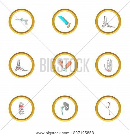 Orthopedic surgery icons set. Cartoon style set of 9 orthopedic surgery vector icons for web design