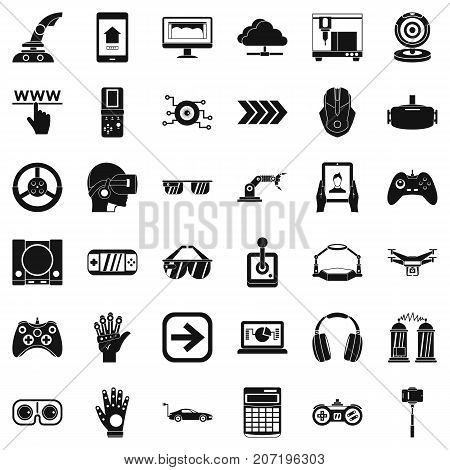 Game over icons set. Simple style of 36 game over vector icons for web isolated on white background