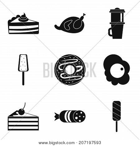 Fatty food icons set. Simple set of 9 fatty food vector icons for web isolated on white background
