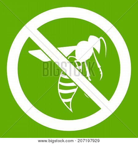 No wasp sign icon white isolated on green background. Vector illustration