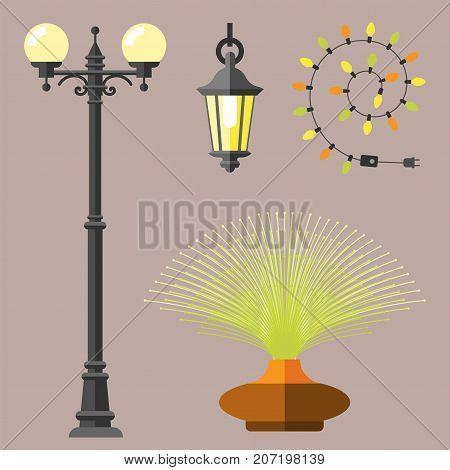 Flat lantern electric city lamp street urban lights fitting illuminator technology light bulb electricity vector illustration. Vintage idea illuminated innovation style spotlight street interior.