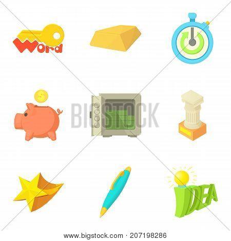Idea for saving money icons set. Cartoon set of 9 idea for saving money vector icons for web isolated on white background