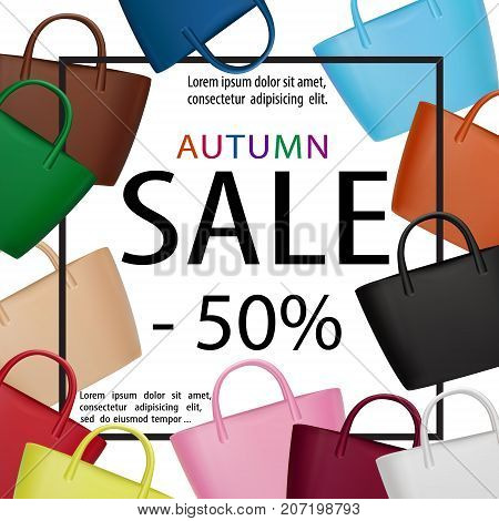 Women bags sale banner. Trendy fashion accessories vector poster. Fall season fashion. Handbags. Autumn discount illustration for shopping or lady fashion design.