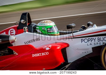 Vallelunga, Italy September 24 2017. Single Seater Formula Driver In Action Closeup