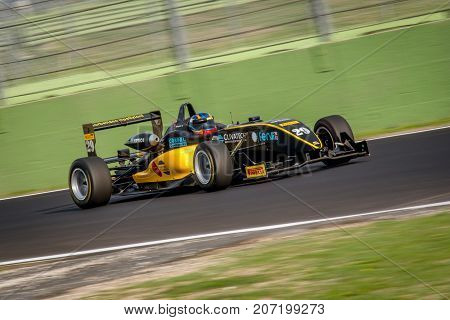 Vallelunga, Italy September 24 2017. Single Seater Formula Driver In Action Panning
