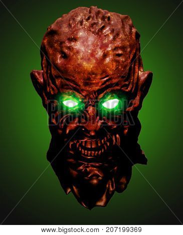 Red head of the shouting monster. 3D illustration in genre of horror. Scary character face on green background.