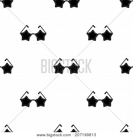 Glasses with stars.Fans single icon in black  vector symbol stock illustration.