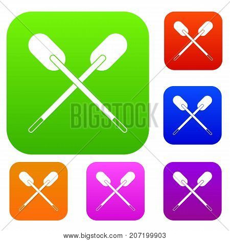 Two wooden crossed oars set icon color in flat style isolated on white. Collection sings vector illustration
