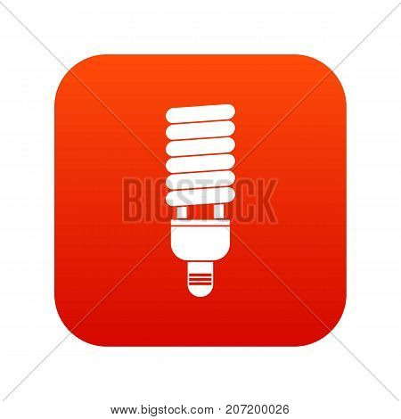 Fluorescent bulb icon digital red for any design isolated on white vector illustration