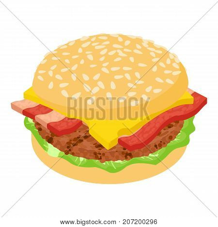 Burger bacon icon. Isometric illustration of burger bacon icon for web