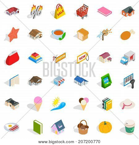 Dear icons set. Isometric style of 36 dear vector icons for web isolated on white background