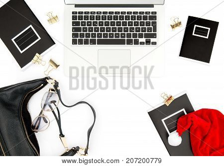 Working place with Christmas decoration on white background. Fashion flat lay for social media