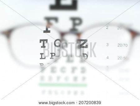Eye Vision Test Chart Seen Through Eye Glasses.
