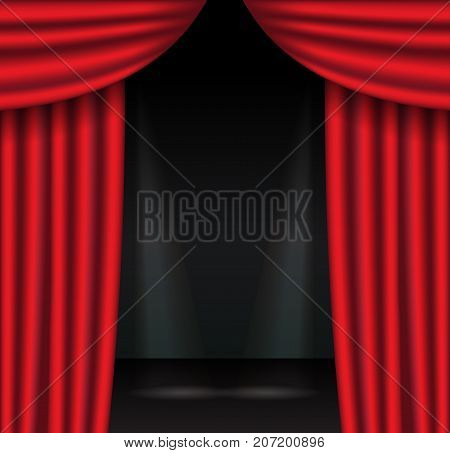 Red theater curtains with spotlight. Open velvet drapes. Vector illustration.