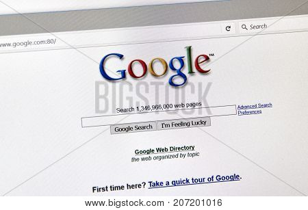 MONTREAL CANADA - OCTOBER 2 2017: Google 2001 year old style search page. Google is a web search engine developed by Google.