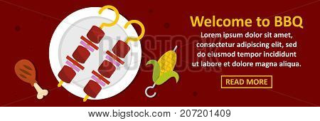 Welcome to bbq banner horizontal concept. Flat illustration of welcome to bbq banner horizontal vector concept for web design