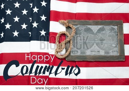 Happy Columbus Day. Us Flag. Map Of The American Continent