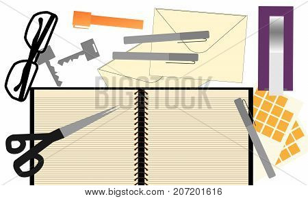 Note book, glasses, keys, note pad, envelope and glasses on table. Top view of modern white desk table concept illustration vector.