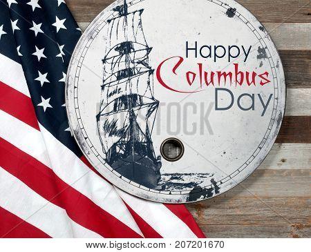 Happy Columbus Day. United States Flag.