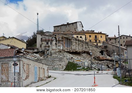 Castelluccio Umbria Italy 24 August 2016. Earthquake center of italy with magnitude 6.5 scale of richter scale. Its destructive force.
