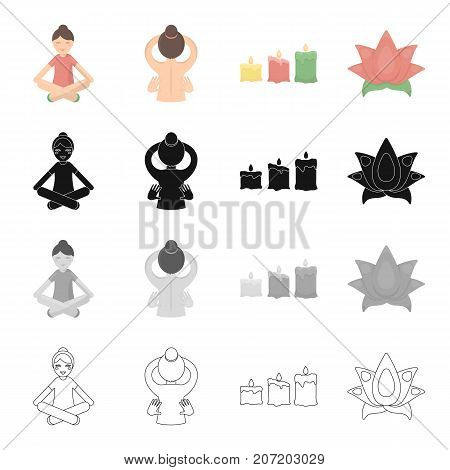 Medicine, non, traditional, and other  icon in cartoon style.Flower, leaf, plants icons in set collection