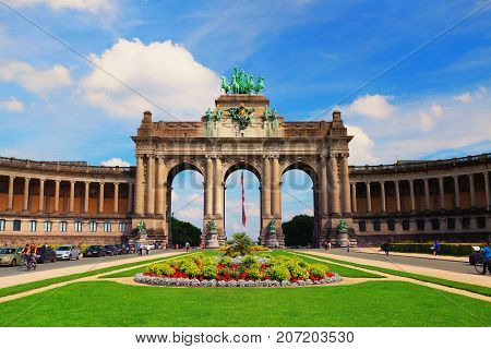 Brussels, Belgium - July 17, 2017: Parc du Cinquantenaire in Brussels on a sunny day. Famous attraction of Belgium.