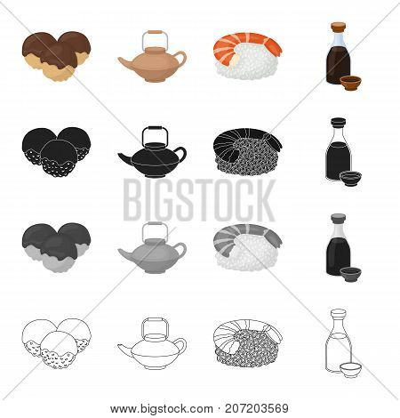 China, national, dish and other  icon in cartoon style. Bottle, cork, sauce, icons in set collection