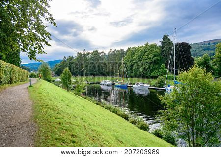 Caledonian Canal And Boats At Fort Agustus