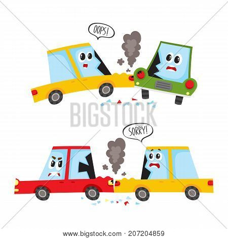 vector flat car characters with face, emotions crash, accident set. Head-on collision and front one. both vehicle have dents broken glasses smoke from hood. Isolated illustration on a white background