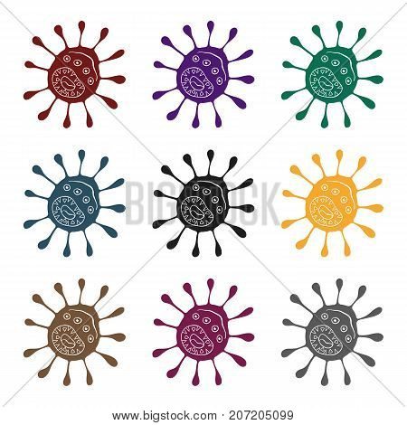 Purple virus icon in black design isolated on white background. Viruses and bacteries symbol stock vector illustration.
