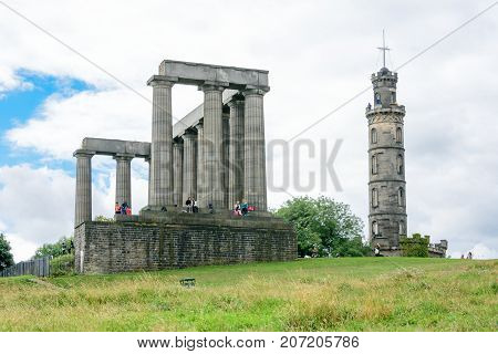 Calton Hill In The Old City Of Edinburgh, Scotland