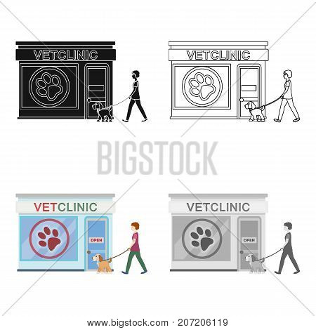 Visiting the vet clinic, the pet, dog on a leash with the hostess. Pet, dog care single icon in cartoon style vector symbol stock illustration .