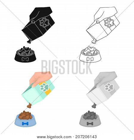 Feeding a pet, feed in a bowl. Pet, dog care single icon in cartoon style vector symbol stock illustration .