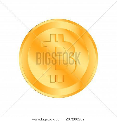 Crypto Currency Golden Coin On White Background. Bitcoin Symbol Of Electronic Money. Flat Vector Ill