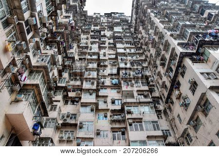 High density old residential building in Hong Kong.
