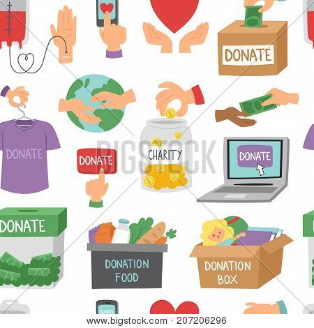 Donate money set outline icons help symbols donation humanity support vector seamless pattern background.